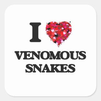 Ik houd van Gifslangen Vierkant Stickers