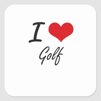 Ik houd van Golf Vierkante Sticker