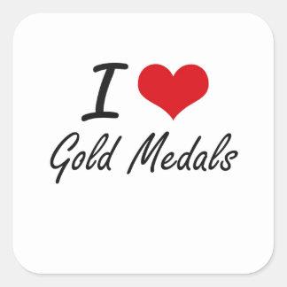 Ik houd van Gouden Medailles Vierkante Sticker