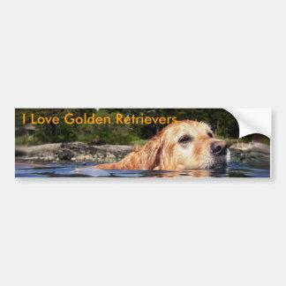 Ik houd van Gouden Retrievers - de Sticker van de  Bumpersticker