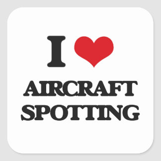 Ik houd van het Bevlekken van het Vliegtuig Vierkante Stickers