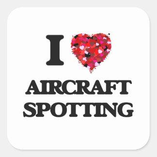 Ik houd van het Bevlekken van het Vliegtuig Vierkant Sticker