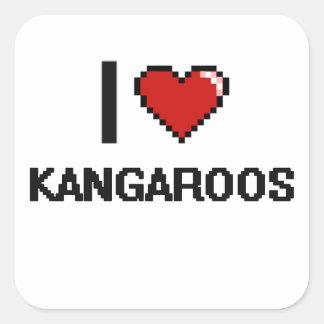 Ik houd van het Digitale Ontwerp van Kangoeroes Vierkante Sticker