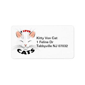 Ik houd van het Etiket van het Adres van Katten Addressticker