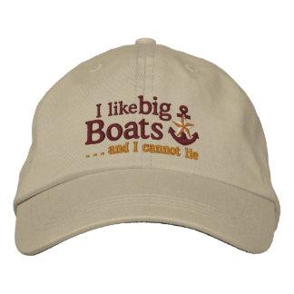 Ik houd van het grote Anker van de boten Geborduurde Pet
