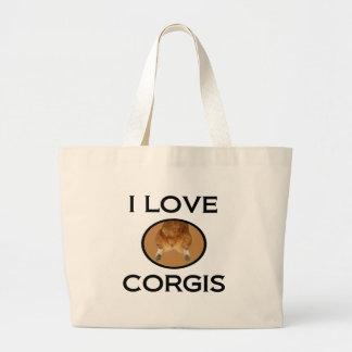 Ik houd van het Uiteinde van Corgis Corgi Grote Draagtas
