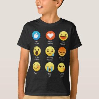 Ik houd van Hockey Sociale Emoticon (emoji) (witte T Shirt