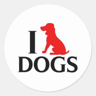 Ik houd van Honden Ronde Sticker