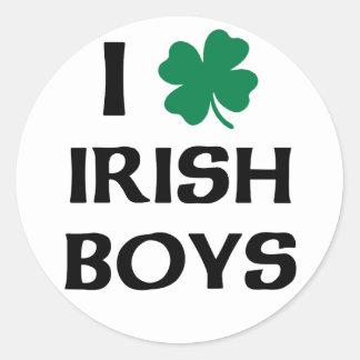 Ik houd van Ierse Jongens Ronde Sticker