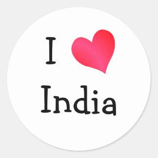 Ik houd van India Ronde Stickers