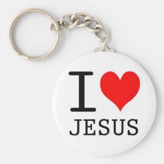 Ik houd van Jesus Basic Ronde Button Sleutelhanger
