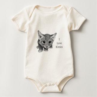 Ik houd van Katten: De leuke Tekening van het Baby Shirt