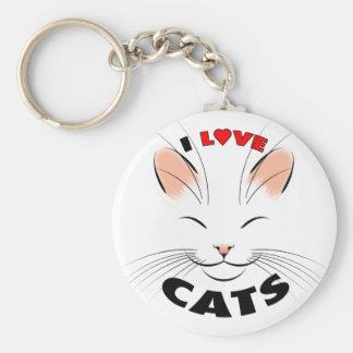 Ik houd van Katten Keychain Basic Ronde Button Sleutelhanger