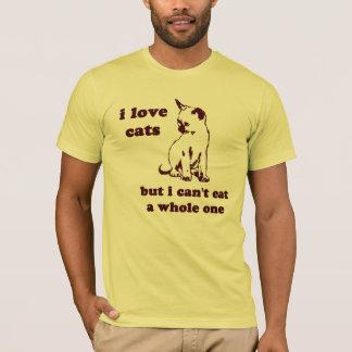 Ik houd van katten maar ik kan niet gehele eten t shirt