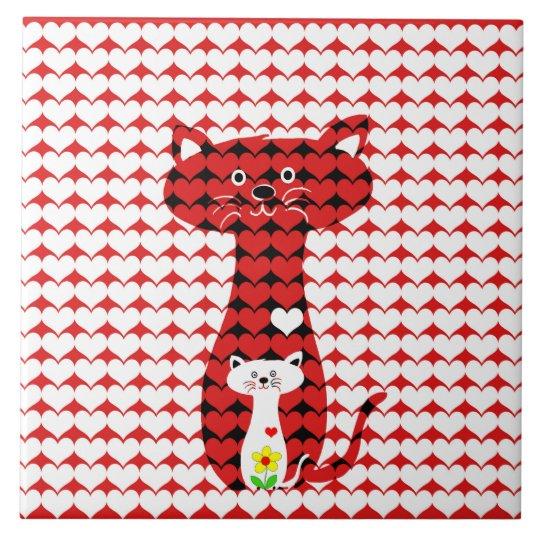 Ik houd van Katten Tegeltje Vierkant Large