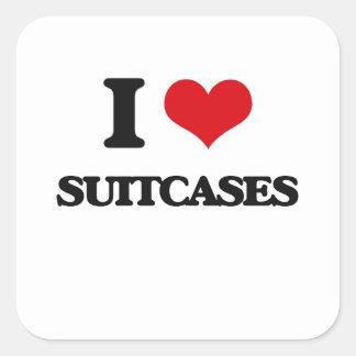 Ik houd van Koffers Vierkante Sticker