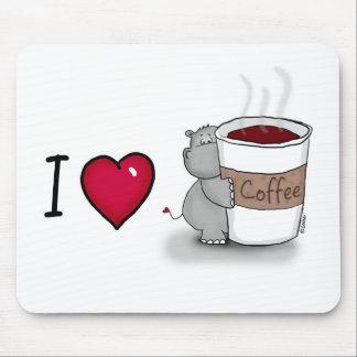 Ik houd van koffie - Hippo met een kop van Koffie Muismat