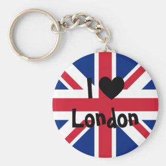 Ik houd van Londen Basic Ronde Button Sleutelhanger