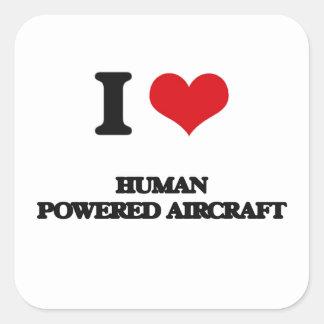 Ik houd van Menselijk Aangedreven Vliegtuig Vierkante Stickers