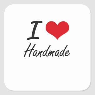 Ik houd van Met de hand gemaakt Vierkante Sticker