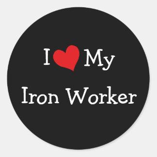Ik houd van Mijn Arbeider van het Ijzer Ronde Stickers