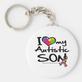 Ik houd van Mijn Autistische Zoon Basic Ronde Button Sleutelhanger