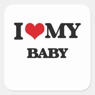 Ik houd van mijn Baby Vierkant Stickers