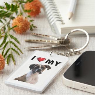 Ik houd van Mijn Bokser Keychain Sleutelhanger