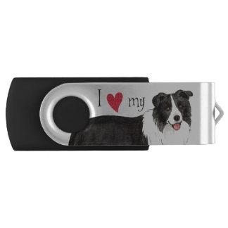 Ik houd van mijn Border collie Swivel USB 3.0 Stick