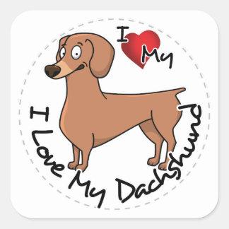 Ik houd van Mijn Dachsund Hond Vierkante Sticker