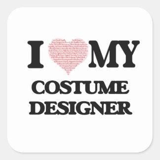 Ik houd van mijn die Ontwerper van het Kostuum Vierkant Sticker