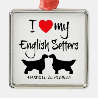 Ik houd van Mijn Engelse Honden van de Zetter Zilverkleurig Vierkant Ornament