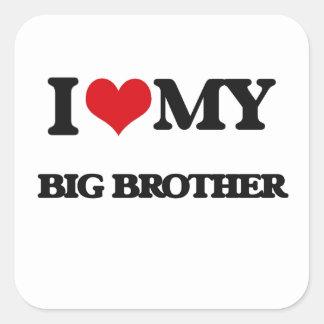 Ik houd van mijn Grote Broer Vierkant Stickers