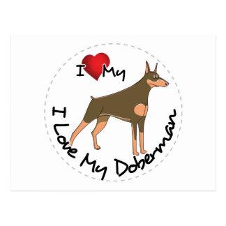 Ik houd van Mijn Hond Doberman Briefkaart