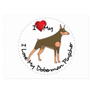 Ik houd van Mijn Hond van Doberman Pinscher Briefkaart