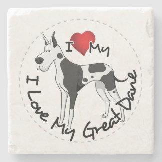 Ik houd van Mijn Hond van Great dane Stenen Onderzetter