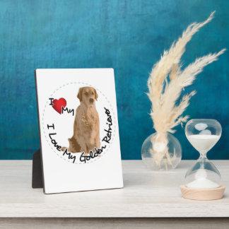 Ik houd van Mijn Hond van het Golden retriever Fotoplaat