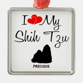 Ik houd van Mijn Hond van Shih Tzu Zilverkleurig Vierkant Ornament