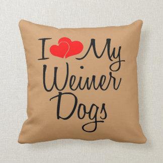Ik houd van Mijn Honden Weiner Sierkussen