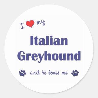 Ik houd van Mijn Italiaanse Windhond (Mannelijke Ronde Sticker