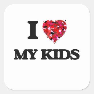 Ik houd van Mijn Kind Vierkant Stickers