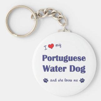 Ik houd van Mijn Portugese Hond van het Water (Vro Basic Ronde Button Sleutelhanger