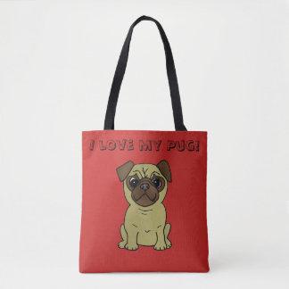 Ik houd van mijn Pug Leuk Canvas tas van de Hond