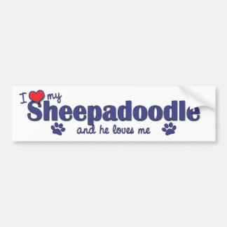 Ik houd van Mijn Sheepadoodle (Mannelijke Hond) Bumpersticker