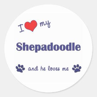 Ik houd van Mijn Shepadoodle (Mannelijke Hond) Ronde Sticker