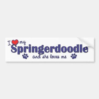 Ik houd van Mijn Springerdoodle (Vrouwelijke Hond) Bumpersticker