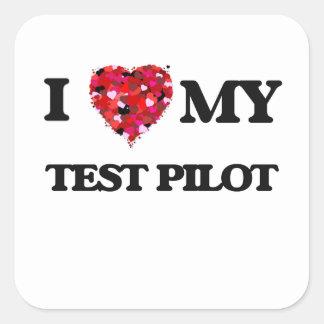 Ik houd van mijn Test Proef Vierkante Stickers