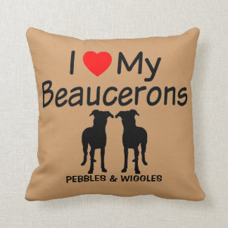 Ik houd van Mijn Twee Honden Beauceron Sierkussen