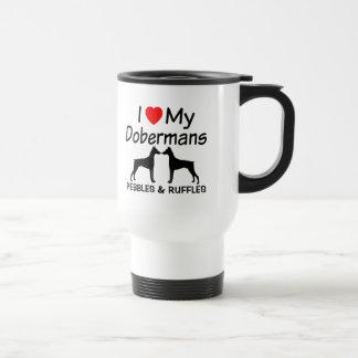 Ik houd van Mijn TWEE Honden Doberman Reisbeker