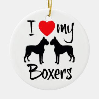 Ik houd van Mijn Twee Honden van de Bokser Rond Keramisch Ornament